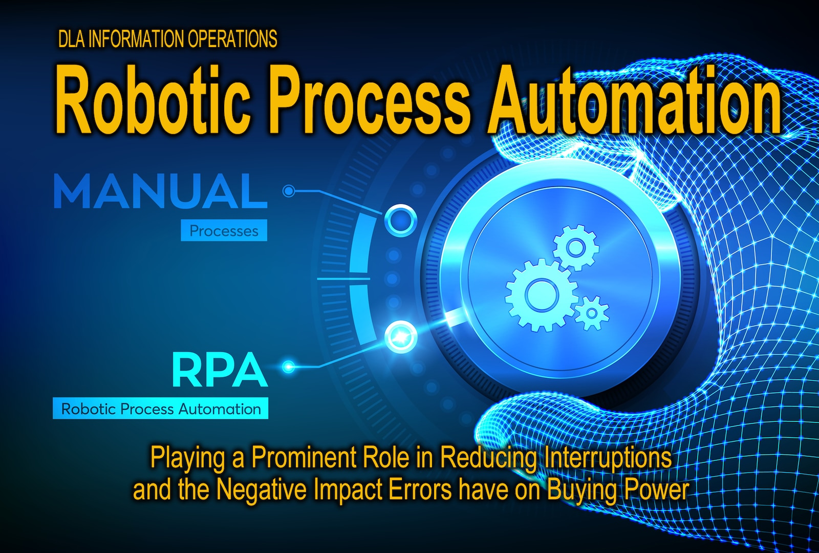 Graphic shows a hand and dial in white and blue tones with the text Robotic Process Automation: Playing a prominent role in reducing interruptions and the negative impact errors have on buying power.