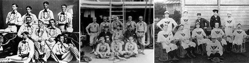 Left: 1873 U.S. Naval Academy Baseball Team, Center: 1880 USS Powhatan Baseball Team, Right: 1896 USS Olympia Baseball Team. Photo courtesy of Gordon Calhoun.
