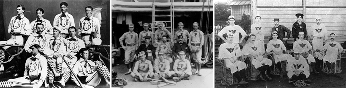 Left: 1873 U.S. Naval Academy Baseball Team, Center: 1880 USS Powhatan Baseball Team, Right: 1896 USS Olympia Baseball Team. Photo courtesy of Gordon Calhoun.