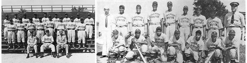 Black and white photo of male, African American baseball players sitting on bleachers for group photo.