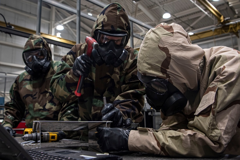 Photo of an Airman performing task qualification training