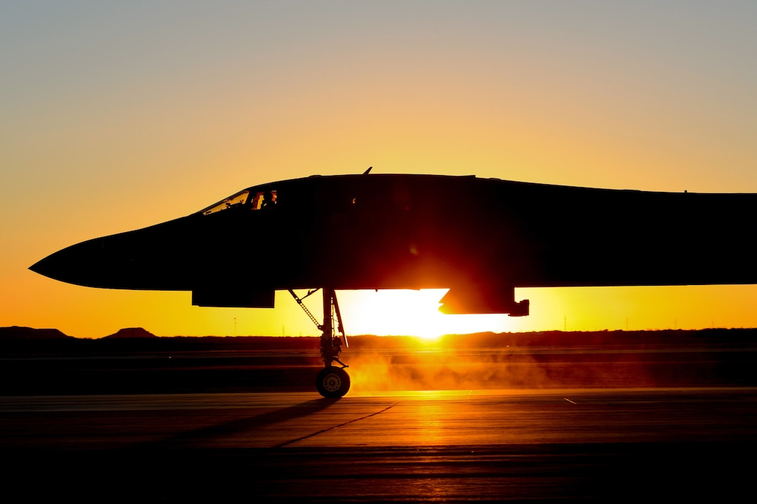 A B-1B Lancer pilot prepares to take off from Dyess Air Force Base, Texas, Feb. 21, 2021. The B-1 is capable of providing vast numbers of precision and non-precision bombs at any moment against any enemy, anywhere in the world. (U.S. Air Force photo by Airman 1st Class Josiah Brown)