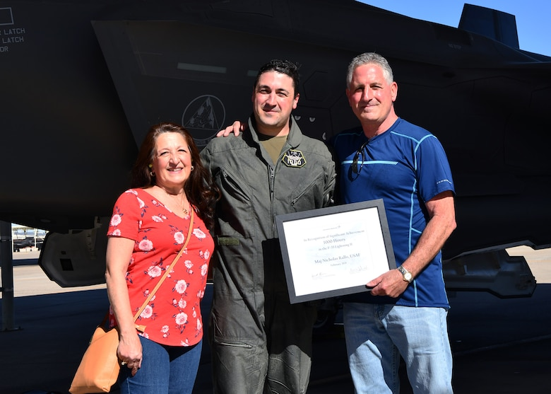 A pilot in the 944th Fighter Wing became the first Luke Air Force Base F-35 pilot to attain 1,000 flying hours in the Air Force's newest 5th generation fighter aircraft here, February 22, 2021.