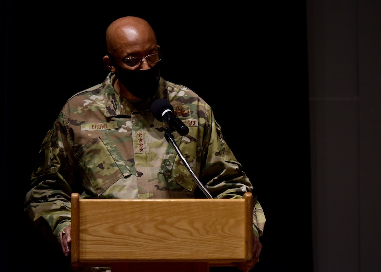 A photo of Air Force Chief of Staff, Gen. Charles Q. Brown, Jr. giving a speech.