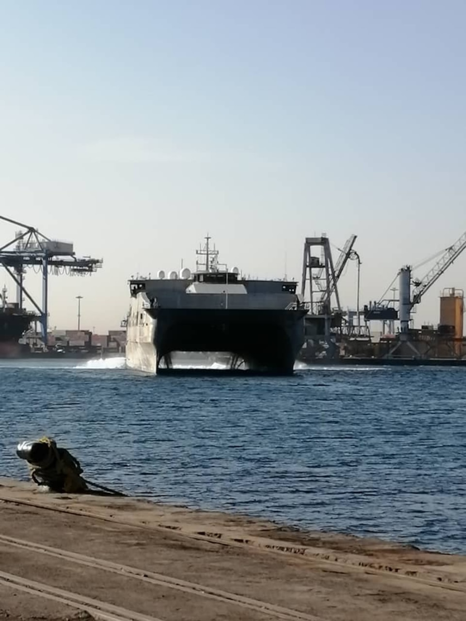 The Military Sealift Command (MSC) expeditionary fast transport ship USNS Carson City (EPF 7) arrived in Port Sudan, Sudan for a port visit, Feb. 24, 2021.