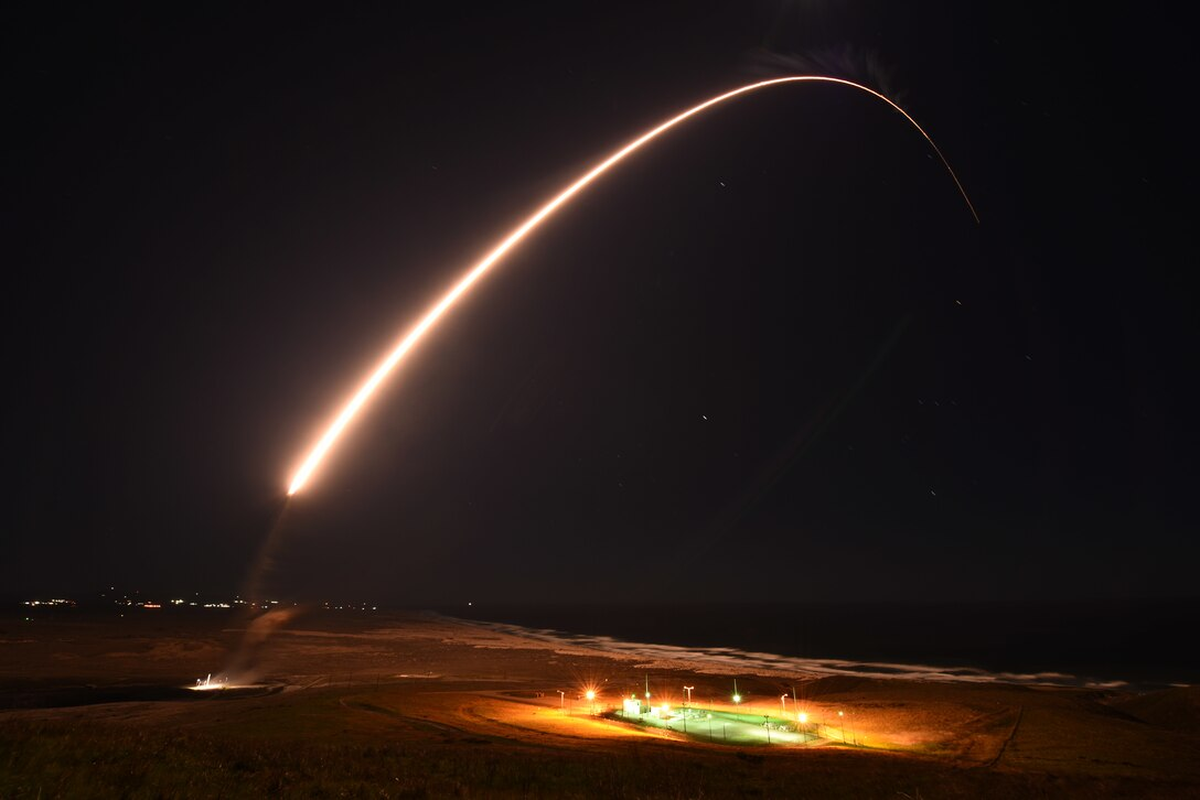 An Air Force Global Strike Command unarmed Minuteman III intercontinental ballistic missile launches during an operation test at 11:49 p.m. PT Feb. 23, 2021, at Vandenberg Air Force Base, Calif.