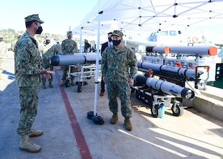 CNO Adm. Mike Gilday discusses unmanned underwater vehicle capabilities at Naval Base Point Loma.