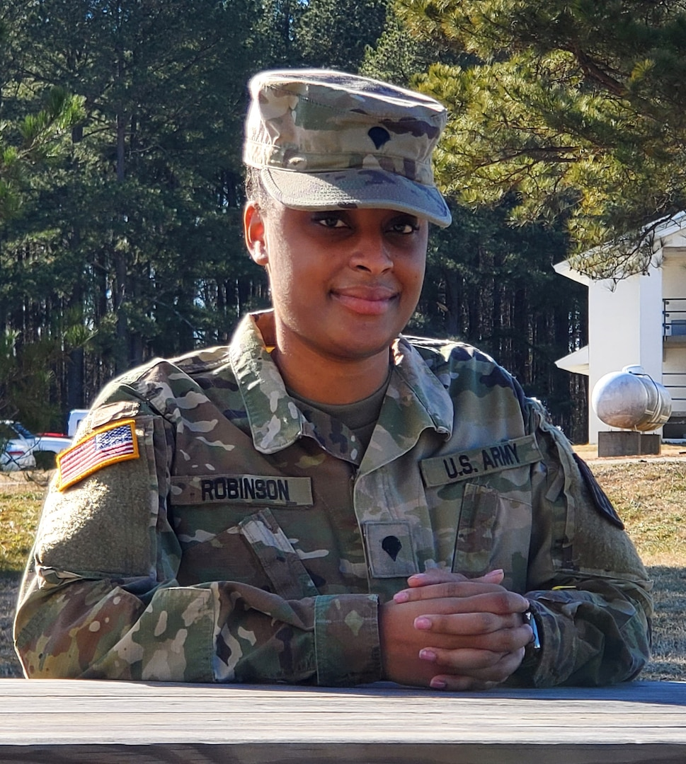 Spc. Kyndall Robinson, assigned to the Virginia Army National Guard's Virginia Beach-based 329th Regional Support Group, reflects on her time in the National Guard Feb. 8, 2021, at  Fort Pickett, Virginia.