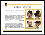 U.S. Army PowerPoint shows the new approved hairstyles under changes to Army Regulation 670-1, effective Feb. 28, 2021. Capt. Whennah Andrews, National Guard Bureau action officer, began a campaign to change the regulation in 2016.