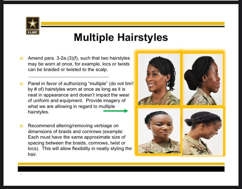 U.S. Army PowerPoint shows the new approved hairstyles under changes to Army Regulation 670-1, effective Feb. 26, 2021. Capt. Whennah Andrews, National Guard Bureau action officer, began a campaign to change the regulation in 2016.
