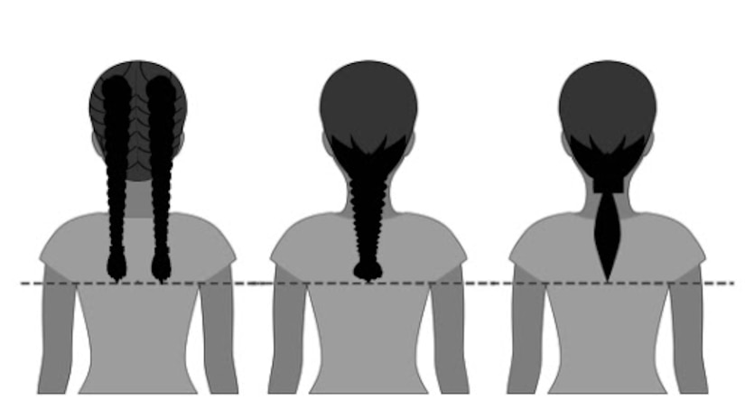 Under changes to grooming standards effective Feb. 10, Air Force women will be able to wear their hair in up to two braids or a single ponytail, with bulk not exceeding the width of the head and length not extending below a horizontal line running between the top of each sleeve inseam at the underarm through the shoulder blades. Women's bangs may now touch their eyebrows but not cover their eyes.
