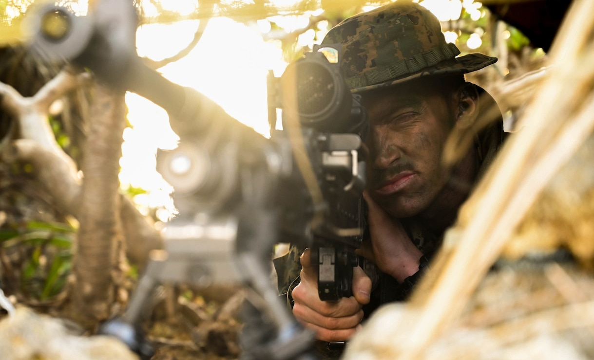 A U.S. Marine provides security during exercise Hagåtña Fury 21 on Ukibaru, Japan, Feb. 17.
