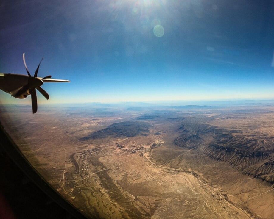 C-130J Super Hercules flying over west Texas.