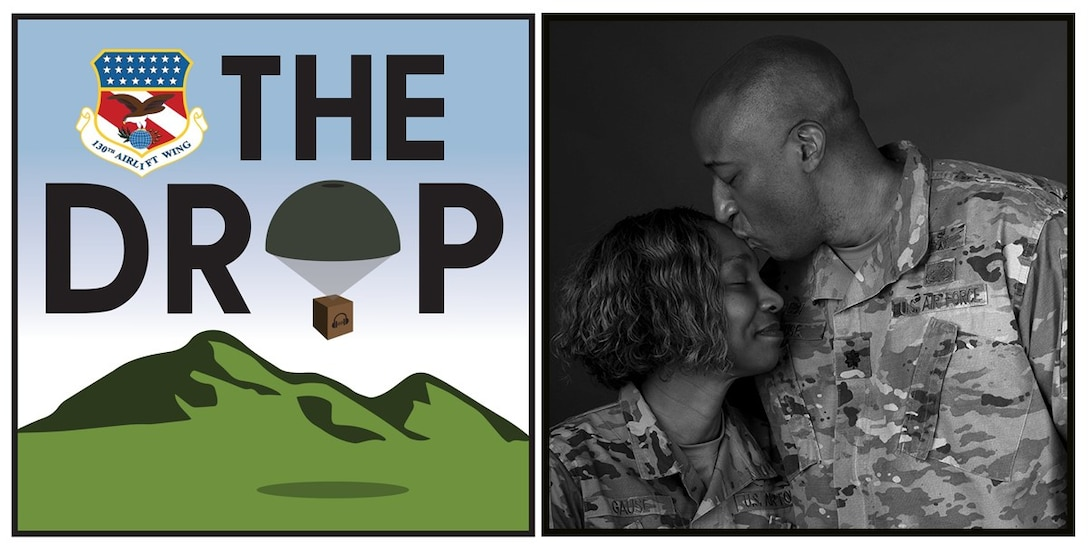 The Drop Ep. 5 logo with portrait of Lt. Col Gause and Capt Underna Gause