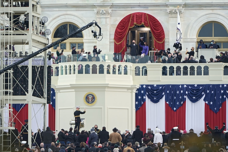 Vice President-elect Kamala Harris enters the inaugural platform at the start of the inauguration ceremony at the U.S. Capitol building