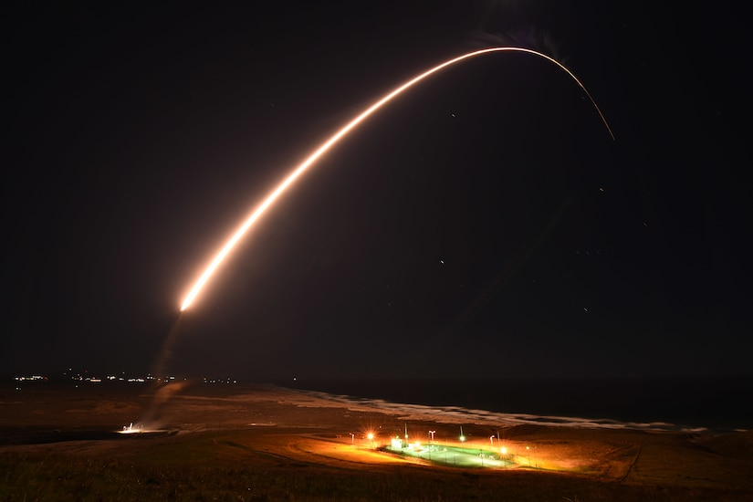 A missile launches during an operation test.