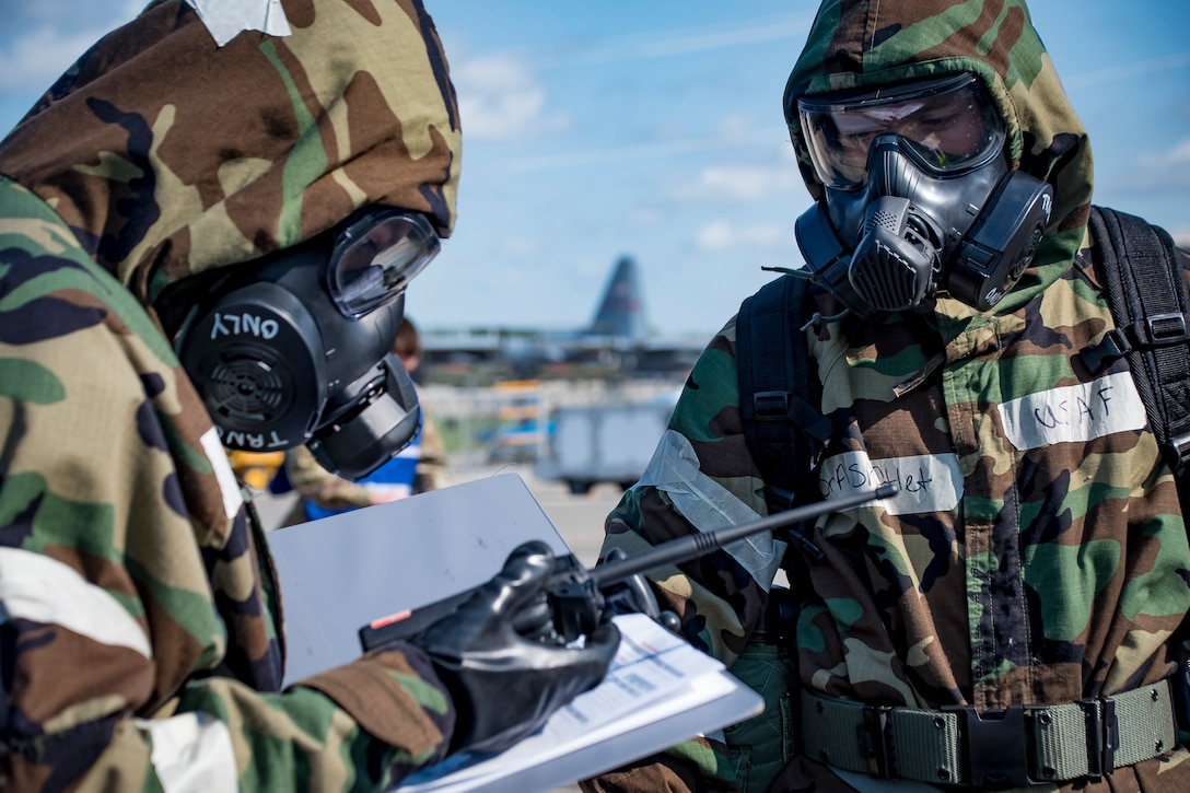 Airmen don Mission Oriented Protective Posture  or MOPP gear as part of a readiness exercise, Sep. 26, 2020, at the 179th Airlift Wing, Mansfield, Ohio.