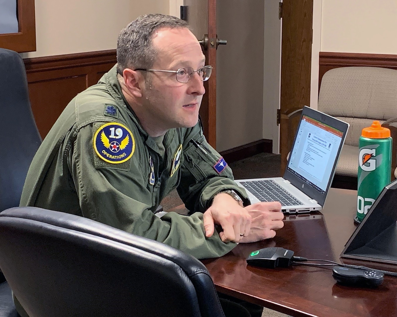 Lt. Col. Gregory Moulton, 19th Air Force deputy chief of Undergraduate Flying Training, facilitates questions from industry during the Flying Training Virtual Industry Day at Joint Base San Antonio-Randolph Feb. 24. This two-day event began with a program overview and described specific requests to address the pilot shortage.