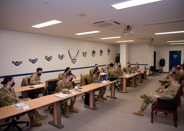 U.S. Air Force Company Grade Officers who attended the First Term Officers Course finished the course with a panel of Majors answering questions about their experiences as officers at Misawa Air Base, Japan, Feb. 19, 2021. The three-day course taught the officers what the Air Force expects of them and provided them the opportunity to network with each other and experienced military members. (U.S. Air Force photo by Airman 1st Class Joao Marcus Costa)
