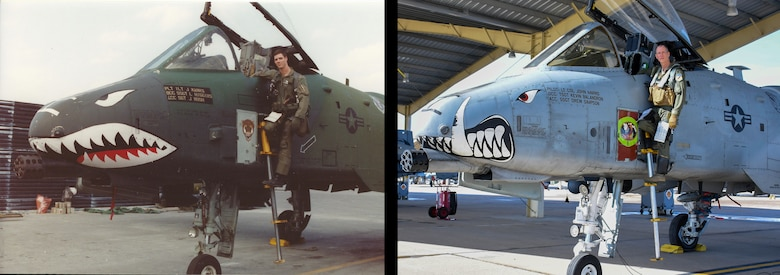 "U.S. Air Force 1st Lt. John ""Karl"" Marks poses with an A-10 Thunderbolt II at King Fahd Air Base, Saudi Arabia, during Operation Desert Storm on February 28, 1991 next to now, Lt. Col. Marks poses with A-10 Thunderbolt II, nearly 30 years later at Whiteman Air Force Base, Mo., Feb. 22 2021."