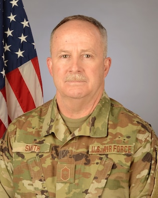 U.S. Air Force Chief Master Sgt. Kenneth Smith, 169th Maintenance Operations Flight chief at McEntire Joint National Guard Base, South Carolina, Feb. 10, 2021. (U.S. Air National Guard photo by Lt. Col. James St. Clair, 169th Fighter Wing Public Affairs)