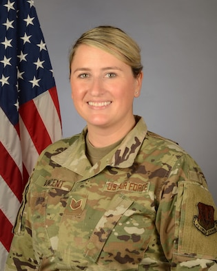 U.S. Air Force Tech. Sgt. Shannon Vincent, 169th Fighter Wing chaplains assistant at McEntire Joint National Guard Base, South Carolina, Feb. 7, 2021. (U.S. Air National Guard photo by Senior Master Sgt. Edward Snyder, 169th Fighter Wing Public Affairs)