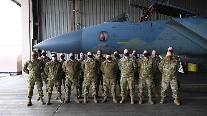 Group of Airmen with F-15