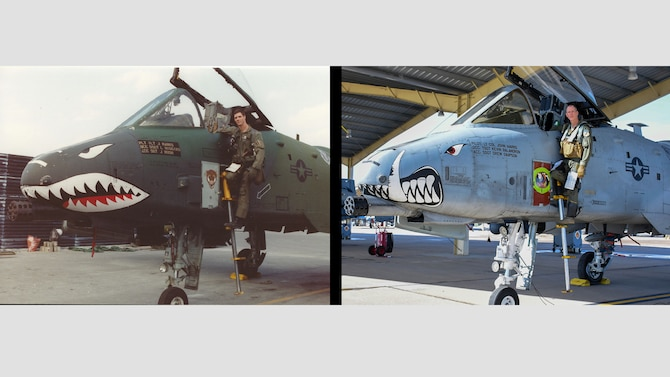"Then, U.S. Air Force 1st Lt. John ""Karl"" Marks poses with an A-10 Thunderbolt II at King Fahd Air Base, Saudi Arabia, during Operation Desert Storm on February 28, 1991, next to now, Lt. Col. Marks posing with the A-10 nearly 30 years later at Whiteman Air Force Base, Mo., Feb. 22 2021. (U.S. Air Force courtesy photos provided by Lt. Col. Marks)"