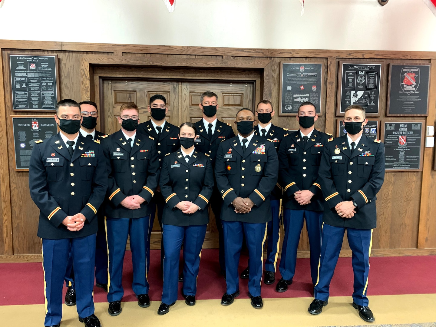 2nd Lt. Bennie Brown (fourth from right) stands with fellow engineer officer school graduates. Brown is the oldest African American officer and one of the oldest officers ever to graduate the engineer officer course at Fort Leonard Wood, Missouri. (photo illustration provided by 2nd Lt. Bennie Brown)