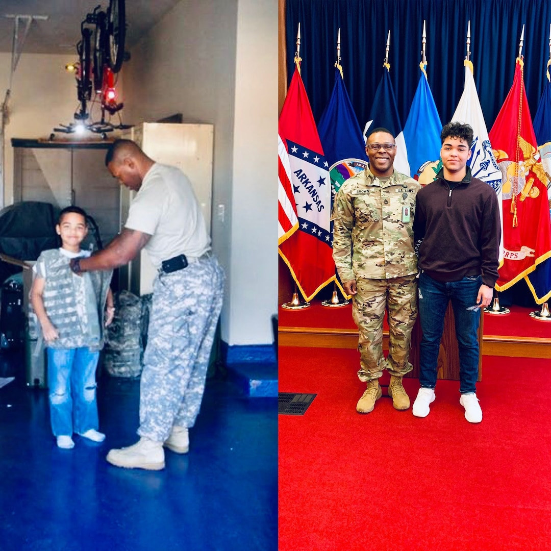 Prior to becoming an officer, 2nd Lt. Bennie Brown served for years as an enlisted member of the Oklahoma National Guard. On the left, he shows his son the type of body armor he will be wearing on an upcoming deployment. On the right, he and his son pose together years later when his son enlisted in the Oklahoma National Guard. Brown is the oldest African American officer and one of the oldest officers ever to graduate the engineer officer course at Fort Leonard Wood, Missouri. (photo illustration provided by 2nd Lt. Bennie Brown)