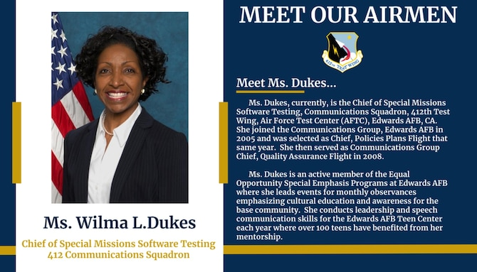 Black History Month Meet our Airmen: Wilma Dukes. (Photo courtesy of Edwards AFB Special Emphasis Programs)