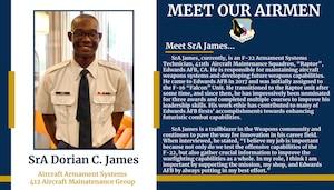Black History Month Meet Our Airmen: Senior Airman Dorian James. (Photo courtesy of Edwards AFB Special Emphasis Programs)