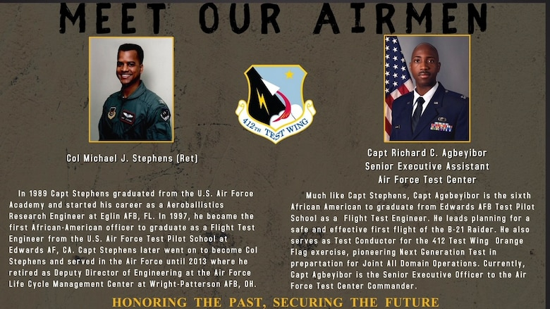 Black History Month Meet our Airmen: Col. (Ret.) Michael Stephens and Capt. Richard Agbeyibor. (Photo courtesy of Edwards AFB Special Emphasis Programs)