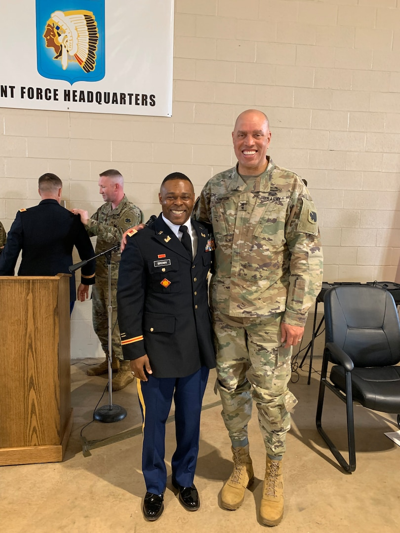 2nd Lt. Bennie Brown poses with Maj. Gen. Michael Thompson, adjutant general for Oklahoma, at Brown's commissioning ceremony, April 3, 2019. Brown is the oldest African American officer and one of the oldest officers ever to graduate the engineer officer course at Fort Leonard Wood, Missouri. (photo illustration provided by 2nd Lt. Bennie Brown)