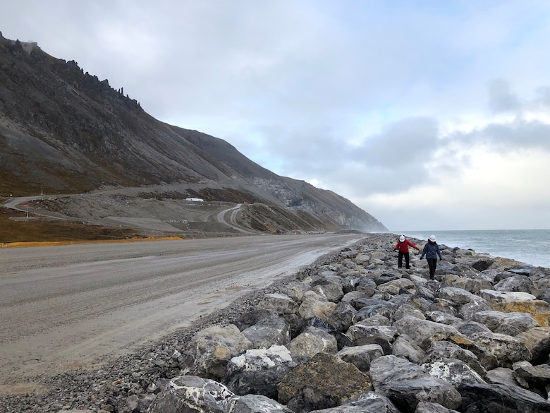 Julie Mages, deputy base civil engineer at the 611th Civil Engineer Squadron, and Lauren Oliver, hydraulic engineer at the U.S. Army Corps of Engineers – Alaska District, assess the seawall at Cape Lisburne on Sep. 30, 2019.