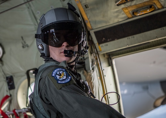Airman wearing a flight helmet.
