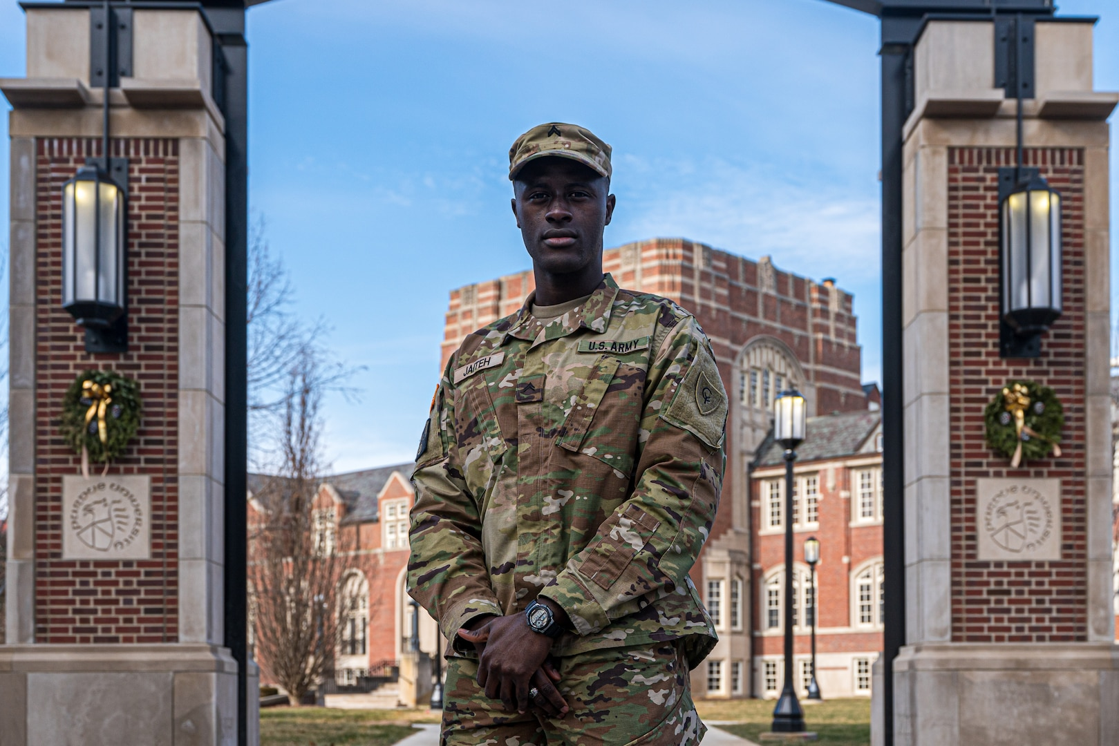 Cpl. Alhagie Jaiteh, a mechanic with the Indiana National Guard's 638th Aviation Support Battalion and a junior at Purdue University, immigrated to the United States at the age of 18 from his home country of The Gambia in search of the American dream. (Photo taken by Sgt. Joshua A. Syberg before updated policy changes regarding masks)