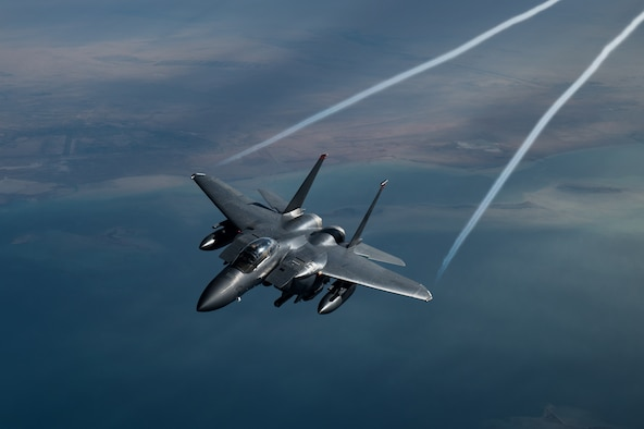 F-15E Strike Eagles watch over troops in CENTCOM