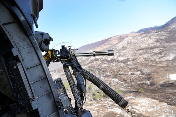 Leadership from the 31st FW conducted GAU-2 gunnery training and close air support with the 56th Rescue Squadron to execute HH-60G weapons employment in a joint and international environment.