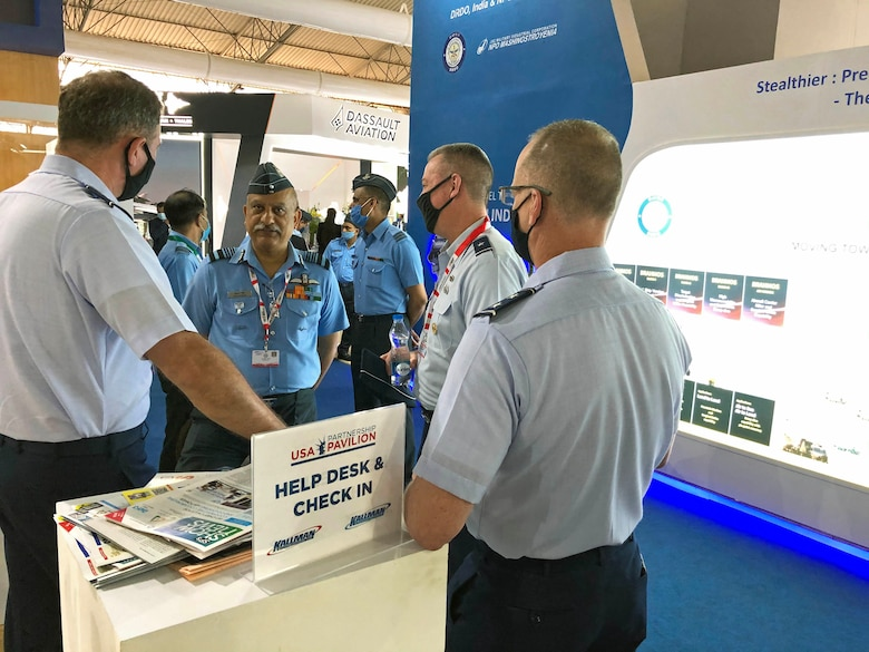 USAF and Indian air force officials discuss interoperability during Aero India 2021.
