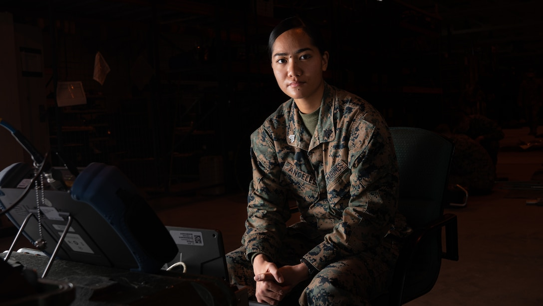 """U.S. Marine Corps Sgt. Angelica J. Angeles, a satellite transmissions system operator with Combat Logistics Battalion 22, 2nd Marine Logistics Group, poses for a photo on Camp Lejeune, N.C., February 25, 2021. """"Don't be afraid to fail and learn from your mistakes, so that in times that matter, with little room for error, you are flawless."""" said Angeles, a Grand Junction, Colo., native. According to her leadership, Angeles has been instrumental in the success of CLB 22's redeployment and reset efforts. She has spearheaded the CMR account turnover and has worked vigorously to ensure the CLB 22's COMSEC account, physical CCI storage, and all COMSEC documentation are correct and are within Marine Corps standards. Sgt Angeles maintains high physical fitness standards and has recently scored a 293 on her CFT. (U.S. Marine Corps photo by Cpl. Rachel K. Young-Porter)"""