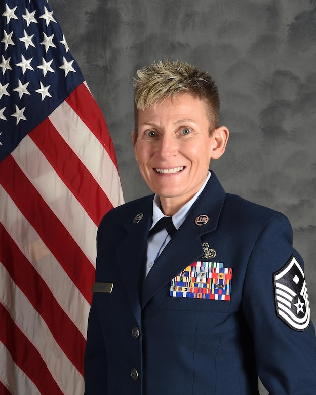 Master Sgt. Tina Kalar, 132d Medical Group first sergeant, will be competing at the national level after being selected as 1st Sergeant of the Year in Region 4. (U.S. Air National Guard photo by Tech. Sgt. Michael J. Kelly)