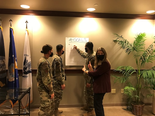 Goodfellow members begin a list of goals at the Norma Brown building on Goodfellow Air Force Base, Texas, Feb. 5, 2021. Goals are often tied to personal and team resiliency, as well as sustained success. (Courtesy photo provided by Stephanie Grunze-Swanson)