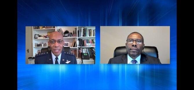 Two men talking via video chat