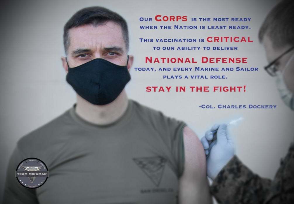 An illustration and quote from Col. Charles B. Dockery, the Marine Corps Air Station Miramar commanding officer, in support of the COVID-19 vaccination campaign. MCAS Miramar leadership received the COVID-19 vaccine as part of the show of confidence campaign on MCAS Miramar, San Diego, California, Jan 14. 2021. (U.S. Marine Corps illustration by SSgt. Marcin Platek)