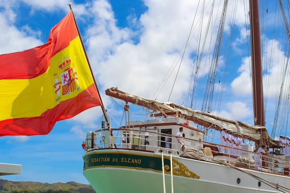 The Spanish Navy training ship Juan Sebastian De Elcano arrived at Apra Harbor