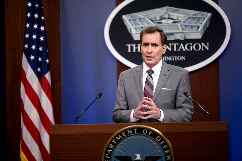 Pentagon Press Secretary John F. Kirby briefs reporters.