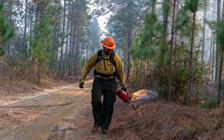 A man walks next to a controlled burn.