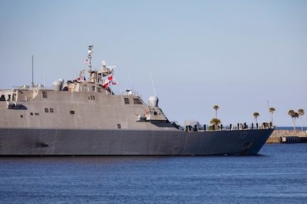 The Freedom-variant littoral combat ship USS Wichita (LCS 13) gets underway, February 24, 2021.