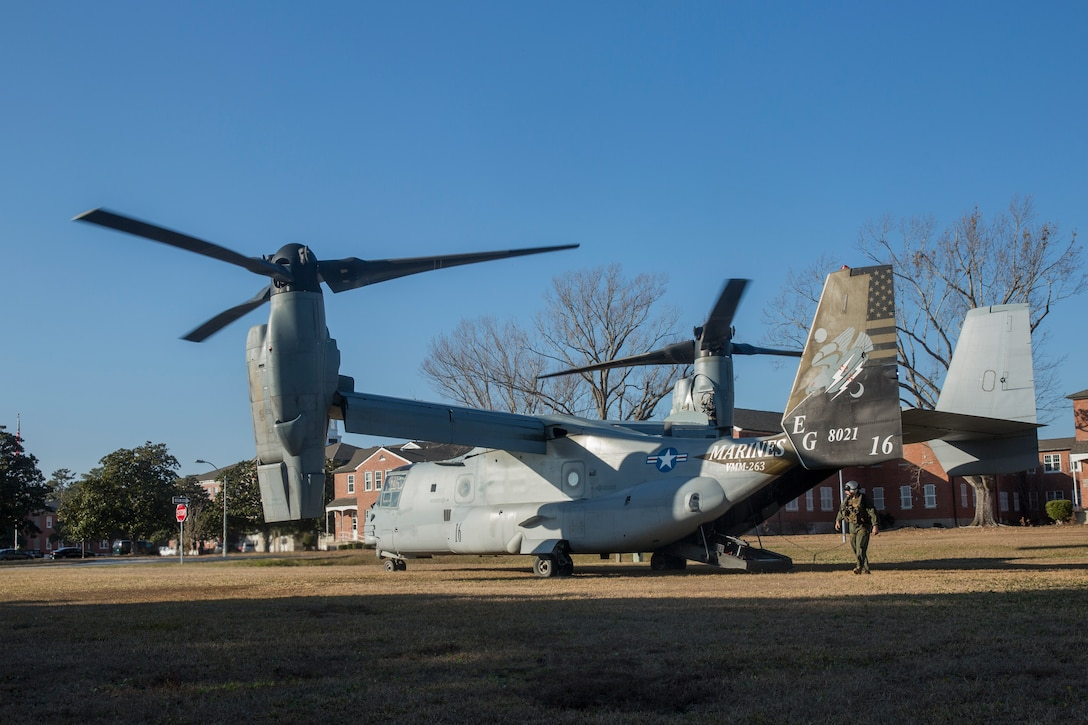 A U.S. Marine Corps MV-22 Osprey assigned to Marine Medium Tiltrotor Squadron 263, 2nd Marine Aircraft Wing, prepares to take off during an Initial Response Team (IRT) fly-away drill on Camp Lejeune, N.C., Jan. 14, 2021. An IRT with 2nd Marine Expeditionary Brigade (2nd MEB)took off from Camp Lejeune to Marine Corps Auxiliary Landing Field Bogue to simulate a forward theater deployment to establish a command and control communication node for 2nd MEB. 2nd MEB's training and education creates a deployable force prepared to move on a moment's notice. (U.S. Marine Corps photo by Sgt. Jesus Sepulveda Torres)